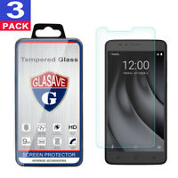 """(3 Pack) GLASAVE Tempered Glass Screen Protector Film For T-Mobile """"REVVL Plus"""""""