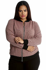 New Womens Plus Size Jacket Ladies Bomber Style Ribbed Sale Criss Cross Nouvelle