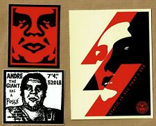 OBEY - STATIC,  RED ICON & Andre STICKERS 13.5 x 10 cm  SHEPARD FAIREY mint