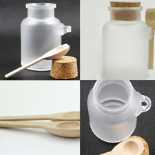 Abs Useful Round Bath Salt Bottle 200ml Powder Bottle with Wood Spoon Plastic