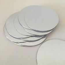 "25 X 3""inch (75mm) Silver Round Thin Cut Edge Cake Cards Boards Culpitt Cupcake"