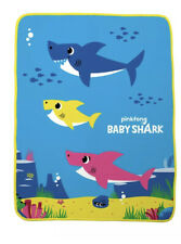 """Baby Shark Blanket Throw Large Size (40"""" x 50"""") Silky Soft Pink Fong Warm NEW"""