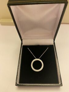 0.49 Ct Real Diamond Circle Of Life Eternity Round Pendant 18K White Gold £515