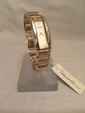 Kenneth Cole Watch Matte Gold Link Bracelet White Face Slim KC4679 $115 NWT