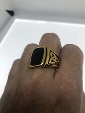 Vintage Celtic Knot Black Onyx Mens Ring Golden Stainless Steel Size 11