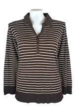 BNWT REGATTA Top - Jumper Chocolate Brown White Striped Polo Knit - 20 - RRP $80