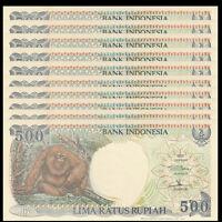 Lot 10 PCS, Indonesia 500 Rupiah, 1992/1998, P-128, UNC