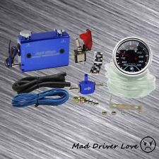 "2"" DIGITAL LED 35PSI BOOST GAUGE DUAL SETTING SWITCH TURBO BOOST CONTROLLER BLUE"