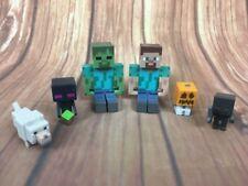 Minecraft Mini Figures Steve Zombie Enderman Pumpkin Wolf Toy Figure Bundle VGC