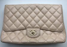 Auth Chanel Bag Jumbo Caviar Vintage Beige Lambskin Gold Single Flap Rare 2009
