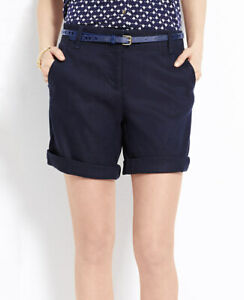 Ann Taylor - SIze 14 Dark Blue Linen Blend Rolled Shorts $59.00 NWT(S3)