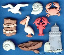 Ocean View Crab Lobster Seagull Fishing Boat Novelty Dress It up Craft Buttons