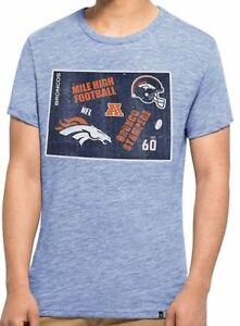 Denver Broncos NFL Men's Short Sleeve Soft Tri-Blend T-Shirt Heather Blue Men M