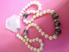 bb9-- REALLY PRETTY GLASS PEARLS & BLACK FACETED & DIAMANTE NEW NECKLACE