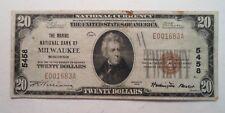 Series 1929 Marine National Bank Milwaukee WI $20.00 Charter 5458  Rare