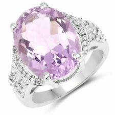 Gemstone Ring 8.98 ct Genuine Amethyst & White Topaz in 925 Sterling Silver