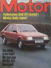 Motor magazine 28/2/1981 featuring Mazda 323 road test,Sorgler VW Golf GTi Turbo