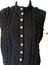 vintage hand knit wool black cabled/bobbled buttoned sleeveless cardigan 36-38""
