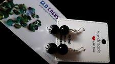 Black Earrings with silver bead cap Beads Drop Dangle Earrings Gift