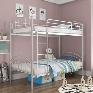 Twin Over Twin Metal Convertible Bunk Bed Frame with Ladder & Guard Rail, White