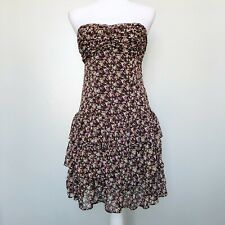Express Womens Dress Brown Lurex Floral Strapless Tiered Ruffle Mini Small