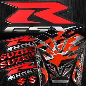 "Reflective Busa Logo Gas Tank Pad+8"" Red Logo&Letter+Silvery GSXR Emblem Sticker"