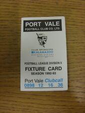 1992/1993 Port Vale: Accesorio oficial Folleto-cuatro páginas (con los resultados se indique).