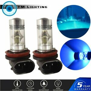 2x H11 H8 100W LED 8000K ICE BLUE 2323 Projector Fog Driving Light Bulbs New