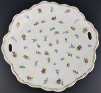 Vintage Porcelain Royal Austria Floral Platter Scalloped Rim