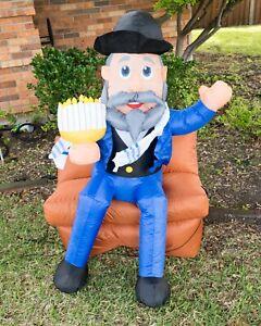 4 ft Mensch On A Bench Gemmy Airblown Inflatable Hanukkah Jewish