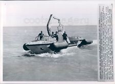 1961 Press Photo US Army Amphibious Larc Boat With Crane Carrying Capsule