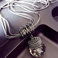 Classic Round Pendant Chain Fashion Crystal Choker Chunky Statement Bib Necklace