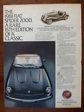 vintage old 1979 1980 1981 1982 FIAT SPIDER 2000 AZZURA 124 sport magazine ad