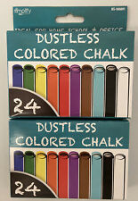 24 Pcs Assorted Dustless Chalk Non-toxic Drawing Home School Office (2) Boxes