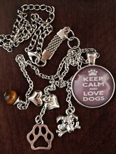 Keep Calm and Love Dogs Car Charm Tibetan Silver Dog with Bone, Hearts, Pawprint