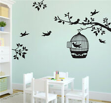 Tree Bird Cage Home Decal Art Wall Stickers Bedroom Decoration Removable Black