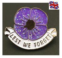 2020 Shining Purple Poppy Pin Badge Brooch Gift Remembrance Animal In War