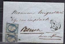 napoléon N°15  25 cts bleu paire  paris Ligne du havre à Rouen +++2500€ LETTRE