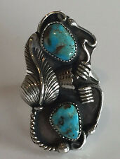 Elegant Vintage NAVAJO Sterling Silver & TURQUOISE RING, sz 5.5, Applied Leaf