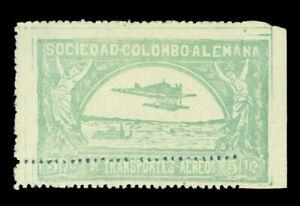 COLOMBIA 1920 AIRMAIL - SCADTA Plane over Magdalena 50c Sc C16 DOUBLE PERFS var.