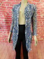 Alberto Makali Linen blend Blue Open Front Drape Sweater Size Medium (B3)
