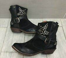 LADIES BLACK LEATHER & SUEDE SIXTYSEVEN STUDDED COWBOY STYLE BOOTS, UK 7/40