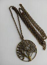 """Una amplia ronda de árbol de la vida Bronce tono encanto, largo (30 """") Collar de cadena"""
