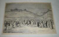1879 magazine engraving ~ PILGRIMS APPROACHING MOUNT ARARAT