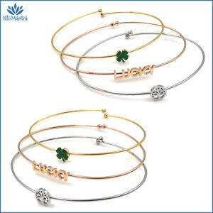 SET bracciale donna con quadrifoglio albero della vita acciaio braccialetto da