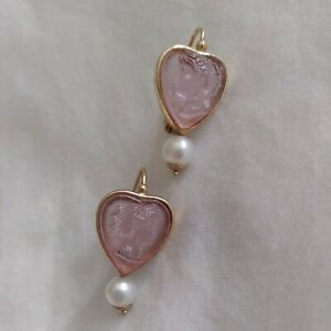 Glass pink cameo heart earrings with pearl in 14K Italian gold