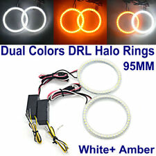 95MM LED HALO RINGS SMD White Amber Dual Color LED ANGEL EYES DRL Turning Signal