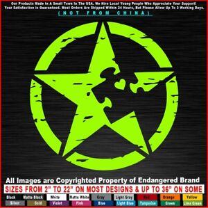 Autism Distressed Star Circle Awareness Super Hero Children Sticker Decal