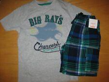 NWT Gymboree Deep Sea Adventure Sz 5 Set Gray Big Ray's Shirt Blue Plaid Shorts