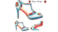 DANCING DAYS LEAH VINTAGE 40S Summer PIN UP GINGHAM COURT SHOES HIGH HEELS